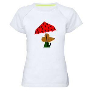 Women's sports t-shirt Mouse under umbrella - PrintSalon