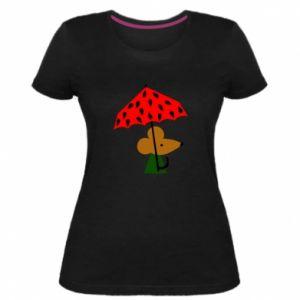Women's premium t-shirt Mouse under umbrella - PrintSalon