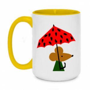 Two-toned mug 450ml Mouse under umbrella