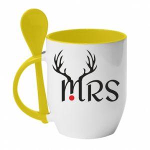 Kubek z ceramiczną łyżeczką Mrs deer