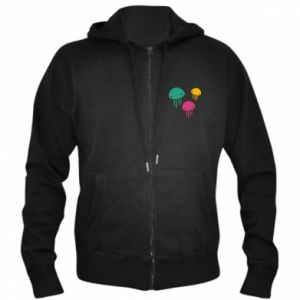 Men's zip up hoodie Multi-colored jellyfishes - PrintSalon