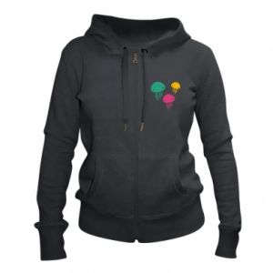 Women's zip up hoodies Multi-colored jellyfishes - PrintSalon