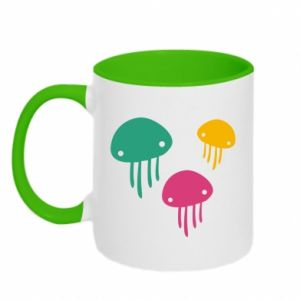 Two-toned mug Multi-colored jellyfishes - PrintSalon