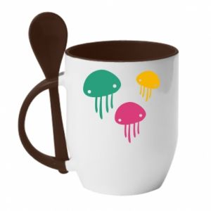 Mug with ceramic spoon Multi-colored jellyfishes - PrintSalon