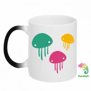 Chameleon mugs Multi-colored jellyfishes - PrintSalon