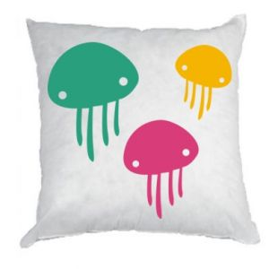 Pillow Multi-colored jellyfishes - PrintSalon