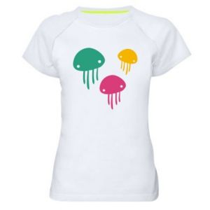 Women's sports t-shirt Multi-colored jellyfishes - PrintSalon