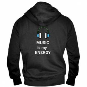 Męska bluza z kapturem na zamek Music is my energy