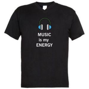 Men's V-neck t-shirt Music is my energy