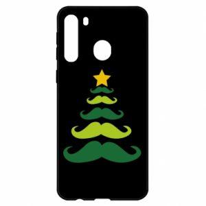 Etui na Samsung A21 Mustache Christmas Tree