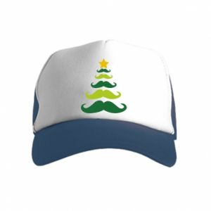 Czapka trucker dziecięca Mustache Christmas Tree