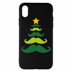Etui na iPhone X/Xs Mustache Christmas Tree
