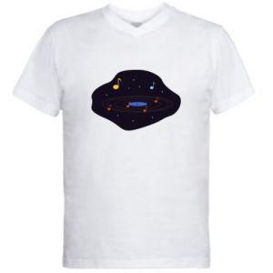 Męska koszulka V-neck Muzyczna galaktyka