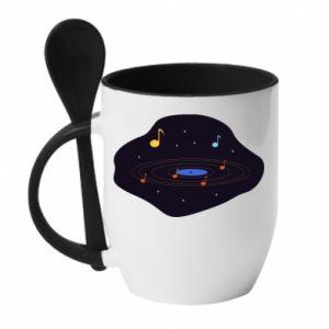 Kubek z ceramiczną łyżeczką Muzyczna galaktyka
