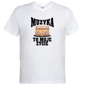 Męska koszulka V-neck Muzyka to moje życie
