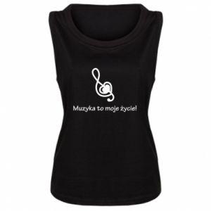 Damska koszulka bez rękawów Muzyka to moje życie!