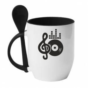 Mug with ceramic spoon Music