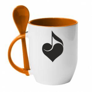 Kubek z ceramiczną łyżeczką Muzyka
