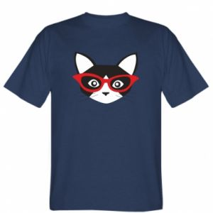 T-shirt Muzzle of a cat in red glasses