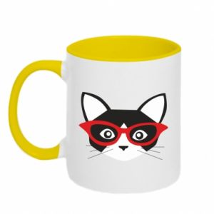 Two-toned mug Muzzle of a cat in red glasses