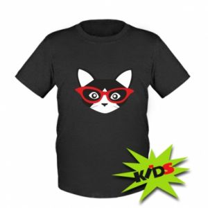 Kids T-shirt Muzzle of a cat in red glasses