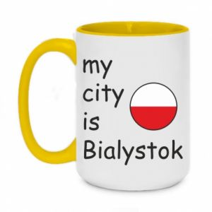 Two-toned mug 450ml My city is Bialystok