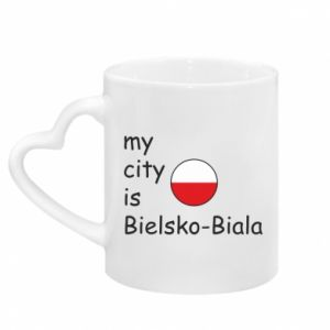 Mug with heart shaped handle My city is Bielsko-Biala
