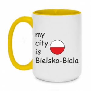 Two-toned mug 450ml My city is Bielsko-Biala