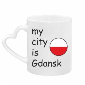 Kubek z uchwytem w kształcie serca My city is Gdansk