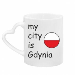 Kubek z uchwytem w kształcie serca My city is Gdynia