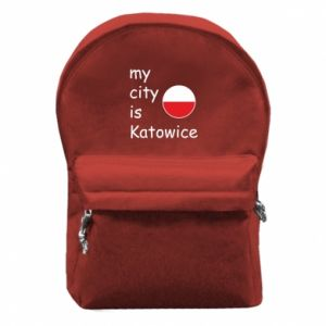 Backpack with front pocket My city is Katowice