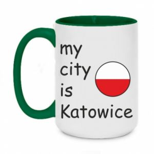Two-toned mug 450ml My city is Katowice