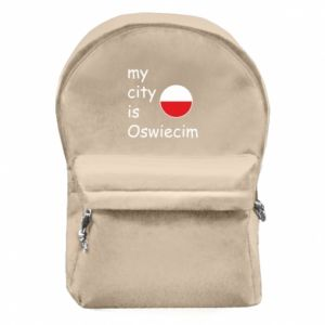 Backpack with front pocket My city is Oswiecim