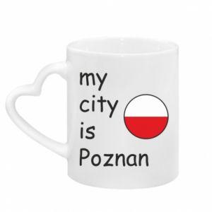 Kubek z uchwytem w kształcie serca My city is Poznan