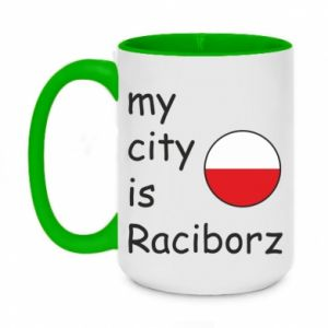 Two-toned mug 450ml My city is Raciborz