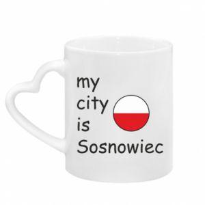 Kubek z uchwytem w kształcie serca My city is Sosnowiec