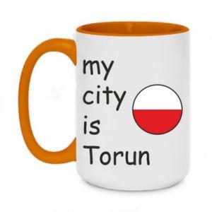 Two-toned mug 450ml My city is Torun
