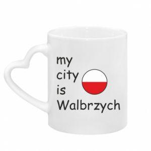 Kubek z uchwytem w kształcie serca My city is Walbrzych