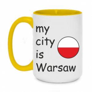 Two-toned mug 450ml My city is Warsaw