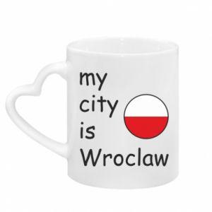 Kubek z uchwytem w kształcie serca My city is Wroclaw