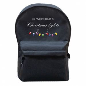 Backpack with front pocket My favorite color is Christmas Lights
