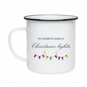 Enameled mug My favorite color is Christmas Lights