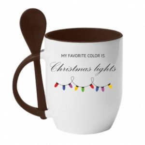 Kubek z ceramiczną łyżeczką My favorite color is Christmas Lights