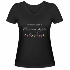 Damska koszulka V-neck My favorite color is Christmas Lights