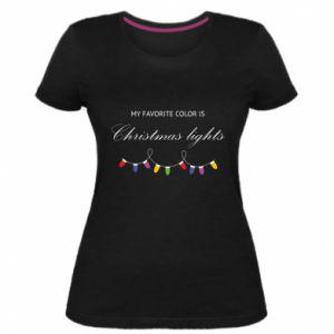 Damska premium koszulka My favorite color is Christmas Lights