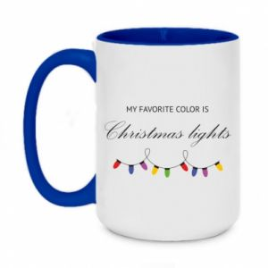 Two-toned mug 450ml My favorite color is Christmas Lights