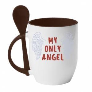 Kubek z ceramiczną łyżeczką My only angel