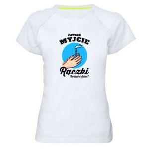 Damska koszulka sportowa Myjcie rączki