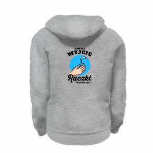 Kid's zipped hoodie % print% Wash their hands