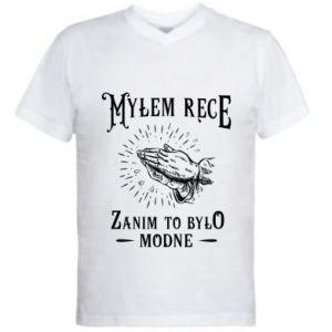 Męska koszulka V-neck Mylem rece zanim to bylo modne